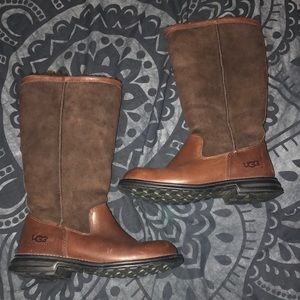 UGG Brooks Leather & Sheepskin Tall Boots Women 7